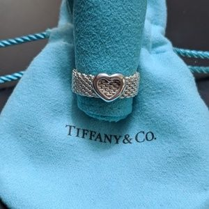 Authentic Tiffany & Co. Open Heart Mesh Ring
